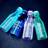 Double Cap Soda Bottle with Straw Plastic Cup Lanyard Portable Drink Cup