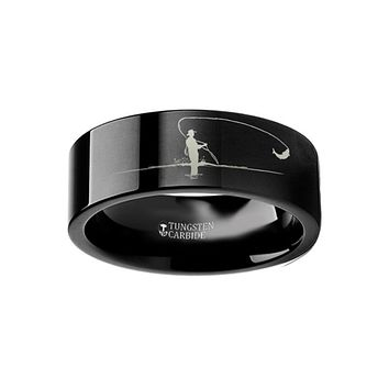 Hunting Landscape Scene - Fly Fishing Fishermen Fish Ring - Laser Engraved - Flat Tungsten Ring - 4mm - 6mm - 8mm - 10mm - 12mm