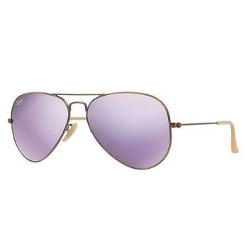 DCCK Ray Ban Aviator Sunglass Bronze Lillac Mirrored RB 3025 167/4K