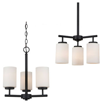 Sea Gull Lighting 31160-839 Oslo Blacksmith Three-Light Chandelier with Satin Etched Glass