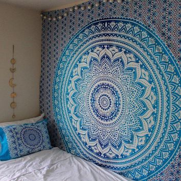 Blue Gradient Mandala Hanging Wall Tapestry