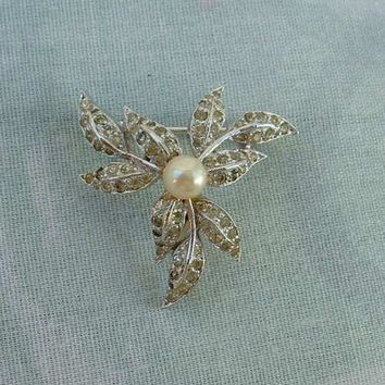 Panetta Brooch Pave Rhinestones Pearl Small Floral Vintage Jewelry