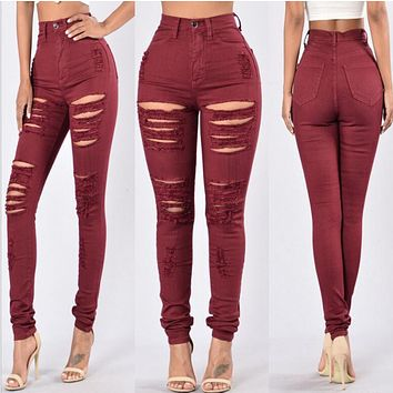 Fashion hole selling colorful stretch jeans feet