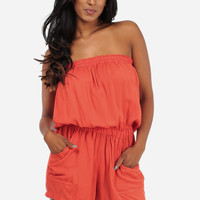 Trendy Rompers-Cute Strapless Rompers-Orange Romper