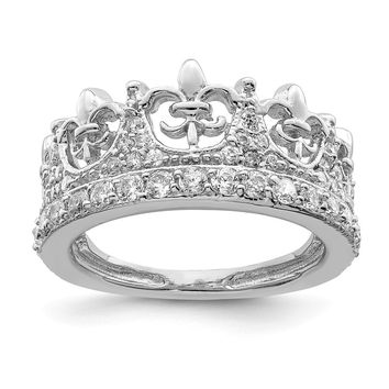 925 Sterling Silver Fleur-de-lis Crown Cubic Zirconia Ring