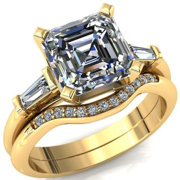 Quinn Asscher Moissanite 4 Prong Single Baguette Diamond Side Ring