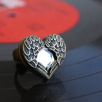 Vintage Bronze Angle Wing Heart Shape Ring. Cute Ring with Shinny Artificial Diamond. Love and Peace Ring.