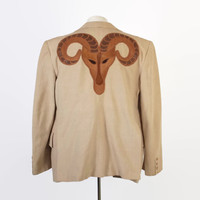 Vintage 70s BILL WHITTEN Jacket / 1970s RARE Custom Made Leather Ram Blazer & Vest Set M