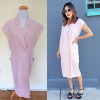 Vintage pinstripe double breasted suit dress oversized pockets pink white knee length