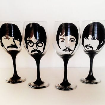 the Beatles wine glasses - set of 4 - hand painted - black stems