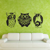 Wall decal decor decals art sticker owl bird dream night cheerful (m436)