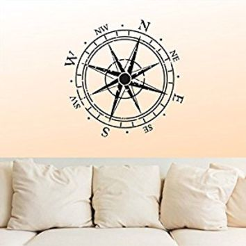 Wall Decal Vinyl Sticker Decals Art Decor Design Vintage Compass Rose Nautical Navigate Ship Ocean Sea Kids Nursery Bedroom Gift Dorm (r874)