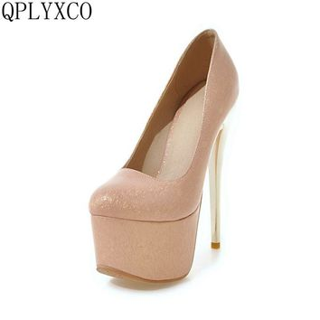 QPLYXCO 2017 New Big small size 30-48 round toe super high heels(16cm) platform shoes women sexy pumps party wedding shoes Y-32