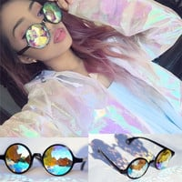 Online Shop Drop Shipping Holographic sunglass Retro Round Uniron Sunglasses Women Designer Eyewear Kaleidoscope lens Glasses oculos de sol | Aliexpress Mobile