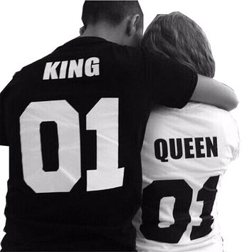 Summer Lovers T Shirts Women  Men  100% Cotton King Queen Funny Letter PrintED Couples Leisure Tshirt O neck Tops QL2112
