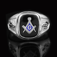 Gents Black Masonic Ring in 10K White Gold
