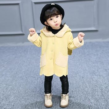 Warm Winter Baby Girls Outerwear Hooded Cotton-Padded Thicken Coat Outerwear Parkas Snow Wear