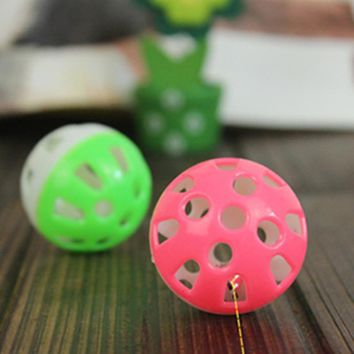 3pcs/lot Pet Tinkle Bell Ball Pet Toy Plastic Dog Cat Playing Ball puppy kitten Products Random Color
