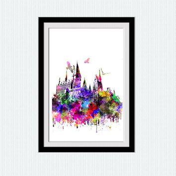 Hogwarts poster Harry Potter print Hogwarts watercolor print Harry Potter colorful poster Home decoration Kids room art Wall hanging  W230