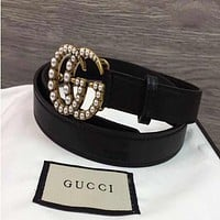 GUCCI Stylish Ladies Pearl Smooth Buckle Belt Leather Belt+Best Gift I