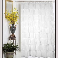 Carmen Crushed Sheer Voile Fabric Shower Curtain-White 70Wx72L