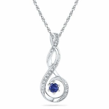 10kt White Gold Women's Round Lab-Created Blue Sapphire Diamond Teardrop Pendant .03 Cttw - FREE Shipping (US/CAN)