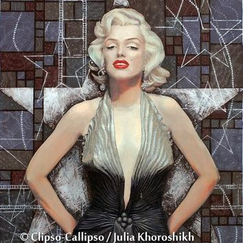 Marilyn Monroe, Movie Star Actress, Old Hollywood, celebrity art, famous woman, fashion icon, painting, brown, silver, giclee print