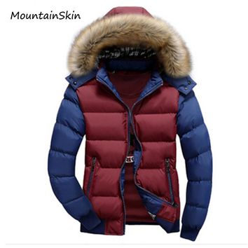 Mountainskin 2017 Men's Winter Jacket Thick Warm Hooded Coats Casual Men Jackets Fashion Hoodies Fur Stand Brand Clothing LA074