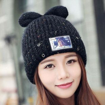 ESBU3C Kawaii Style Cat Knitted Caps Ear Warm Printed Women Hats  Wool Knitted Beanies Winter Hat Colorful