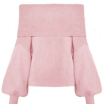 Pink Off Shoulder Bell Sleeve Rib Knitted Sweater