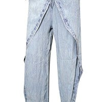 Womens Grey Wrap Pants Embroidered Rayon Bohemian Hippie Trouser