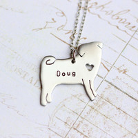 Hand cut pet silhouette necklace, pug necklace, pug, dog necklace, pug jewelry, engraved, personalized