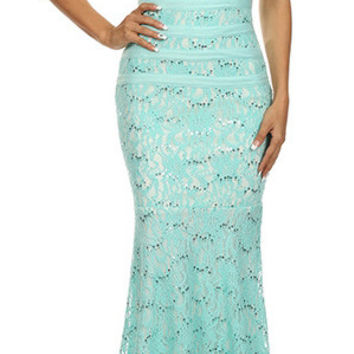 Two Tone Mint Ivory Overlay Lace Dress Mermaid Wide Strap