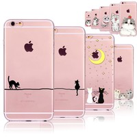 Cute Cats Phone Cases For iphone 6 6S 7 8 7PLUS 8P 5 5S SE 6PLUS 6SPlus Funny Cat Animals Clear TPU Cover Coque For i6 7 8 Case