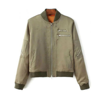Stand Neck Multiple Zippers Bomber Jacket