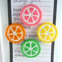 Cute fridge magnets - set of 2, pick your flavors: Orange, Lemon, Lime, Pink Grapefruit slices, citrus fruit, refrigerator magnets