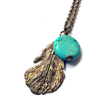 feather pendant with turquoise blue turquenite round bead long necklace