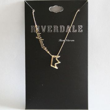 Licensed cool Riverdale Jughead Jones Crown Charm Pendant Necklace Gold Tone Shot Bead Chain