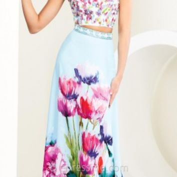 Two Piece Floral Motif Prom Gown by Tony Bowls Paris