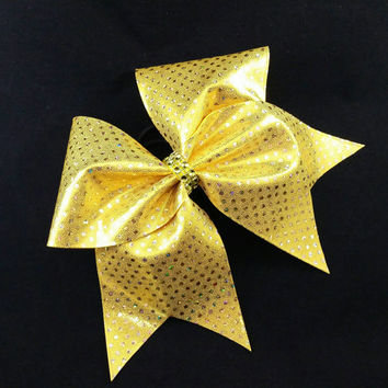 Cheer bow, Yellow cheer bow, sequin cheer bow, cheerleading bow, cheerleader bow, cheerbow, softball bow, pop warner cheer bow, dance bow