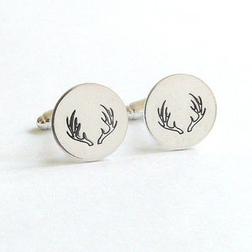 Silver Cuff Links Deer Antler CuffLinks Groomsmen Gift Groom Gift Country Wedding Rustic Wedding Cowboy Wedding Southern Wedding Gift