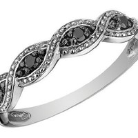 Infinity Black Diamond Ring in 10K White Gold, Size 9