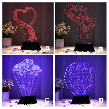 3D Creative Lamp Romantic LED Lights Gifts Home Decor [6283335878]
