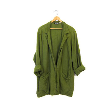 Slouchy Army Green Linen Jacket EILEEN FISHER Oversize Shirt 90s Loose Fit Grunge Pocket Blazer Olive Rayon Punk Hipster Coat Vintage