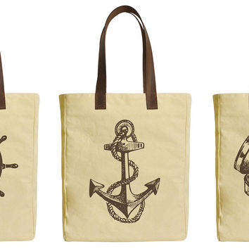 Set of Nautical Beige Printed Canvas Tote Bags Leather Handles WAS_30