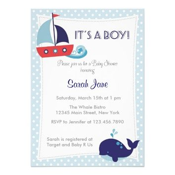 It's A Boy Nautical Sailboat Baby Shower Invite