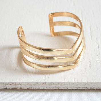 Gold Chevron Cuff