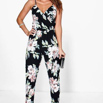 Fiona Floral Print Cami Wrap Strappy Jumpsuit | Boohoo