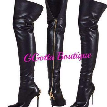 GGotta's Over The Knee leather baddie Boots