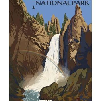 Tower Falls - Yellowstone National Park Art Print by Lantern Press at Art.com
